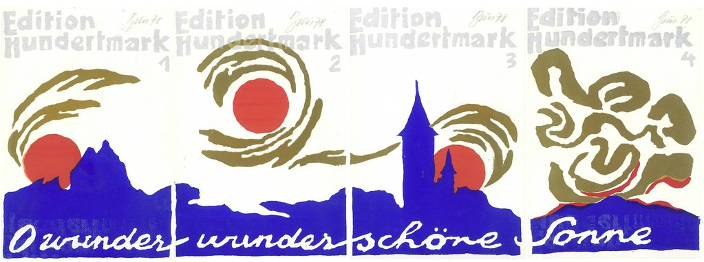 "Brus, Gunter ""O Wunder, Wunderschone Sonne,"" suite of four postcard prints, N.p., 1978.  Signed and dated by Brus, with dedidication to Carion on verso of first card."