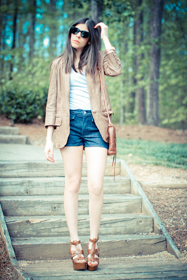 Leather jacket, IOC shorts, Ash wedges, Forever 21 T-Shirt, Rebecca Minkoff bag, Marc Jacobs watch