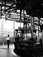 Ngong Ping 360 (Fion N.) Tags: travel blackandwhite bw hongkong publictransportation cablecar  cableway attraction skyrail lantauisland  ngongping tungchung     ngongping360 360