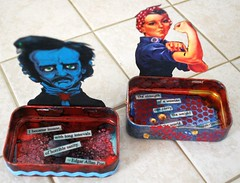 EDGAR & ROSIE (Red Heart Studio) Tags: blue red people woman black bird colors tin insane aqua paint heart mixedmedia teal rosietheriveter rosie quotes poet tray strong insanity raven poe inks strenght edgarallanpoe altoidmints