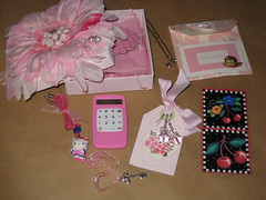 It's Pink, It's Pretty and It's for You! (contents) (hippofairy) Tags: hello pink cherry box tag kitty magnets swap envelope calculator earrings received hairpick swapbot