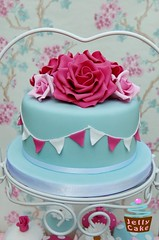 Cath Kidston Wedding Cake (www.jellycake.co.uk) Tags: wedding roses cakes cupcakes farm polka sugar lea raspberry buds dots cath wiltshire winkworth stands bunting kidston duckeggblue jellycake wwwjellycakecouk