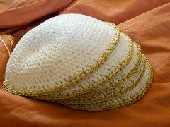 #1-4&6 (Knit n Frog) Tags: wedding white gold handmade metallic crochet cotton lara yarmulke dmc kippah elann antiquegold dmcthread