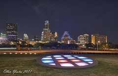 Austin Skyline from the Long Center (Ellen Yeates) Tags: lake color bird grass skyline lady night work canon austin lights ellen long downtown texas dancing mark iii center disc 1ds hdr buidling yeates