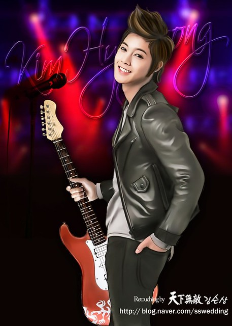 Kim Hyun Joong Holding A Guitar On Stage