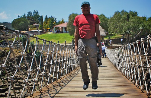 Levitation on Suspension Bridge over the Basaltic Prisms in Hildago, Mexico