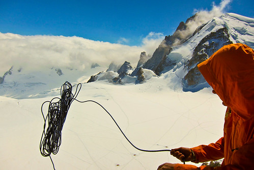 Abseil from Eperon des Cosmique, Chamonix