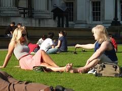 Museum Girls (duralict) Tags: park travel england london girl europe unitedkingdom candid lawn britishmuseum 2011