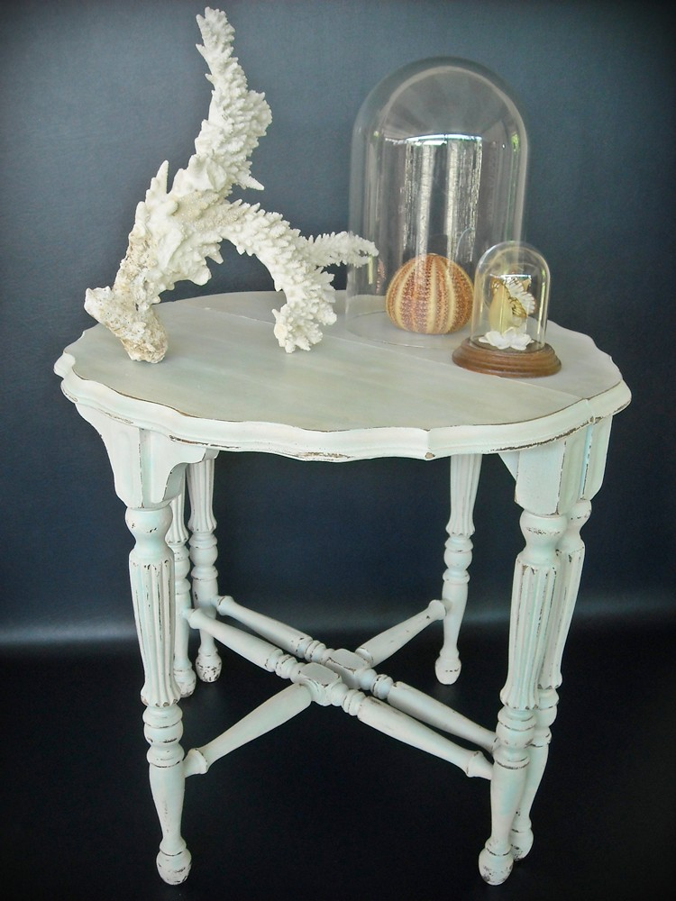 Vintage Demi Lune Table Pair Shabby Chic Cottage Beach Aqua White 1930s Upcycled Painted Chippy