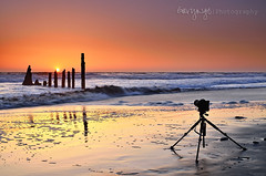 Sunset Shooter (Gary Ngo | Photography) Tags: california sunset orange seascape reflection sand nikon photographer wave bayarea tamron vc f28 thorntonstatebeach 1750mm d7000