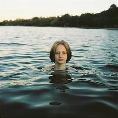 An Insular Life (Brendan_Timmons) Tags: blue 6x6 tlr water girl swimming river dark afternoon floating yashicamat yashinon 80mmf35 kodakektacolorpro160