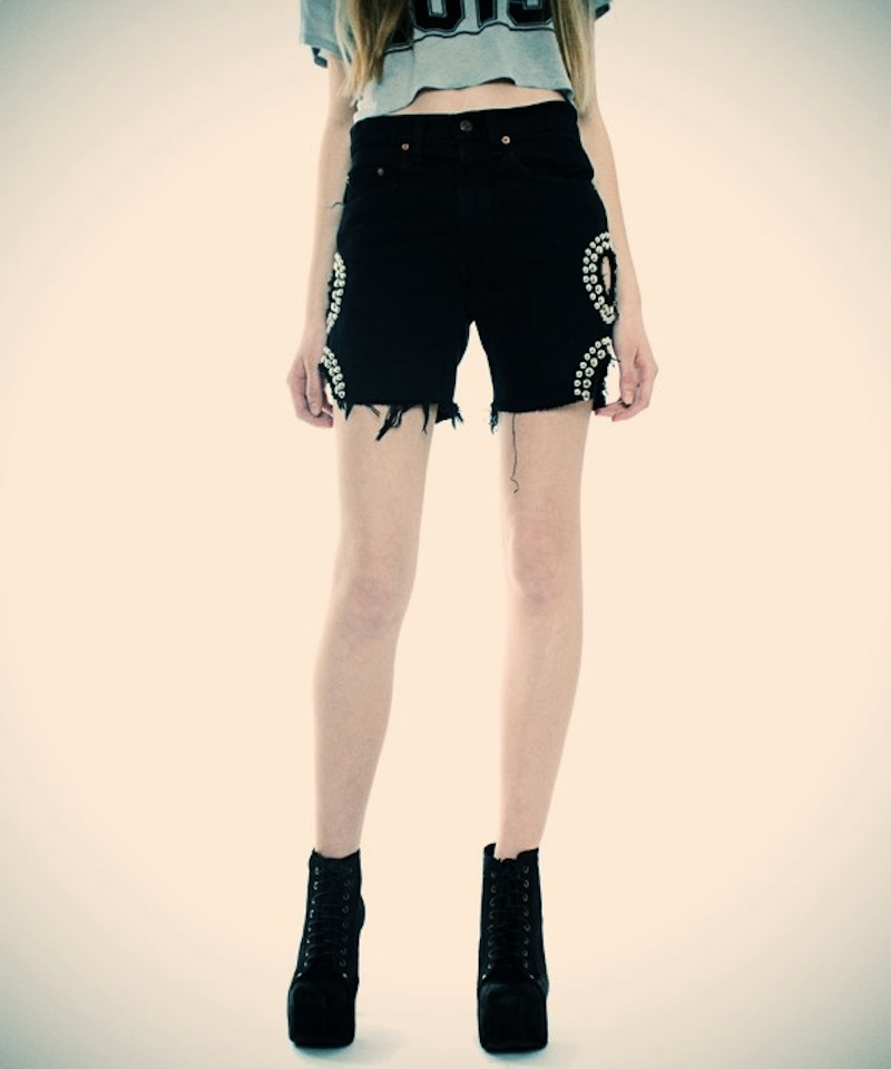 OBESITY AND SPEED  DENIM STUDDED SHORTS WITH CUTOUT CIRCLES 2.jpg_effected-001