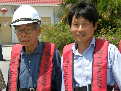 Former first Penang Bridge chief resident engineer Liaw Yew Peng, 81, with second Penang bridge chief engineer Loh at the second Penang bridge site office