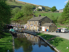 Entrance to Standedge Tunnel (jrw080578) Tags: trees buildings reflections boats canal yorkshire tunnel hills huddersfieldnarrowcanal canalsidehouse