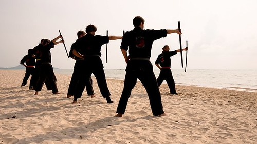 Ninja Sword Training on the Beach at Rick Tew's NinjaGym™ Martial Arts Training and Fitness Camp in Thailand