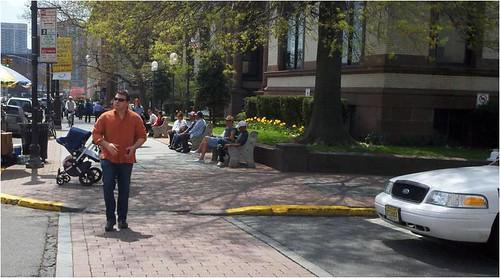 an enhanced street crossing in Hoboken (via: Walk Friendly Communities/PBIC)