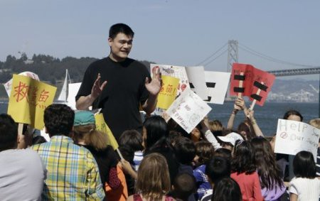 May 5th, 2011 - Yao Ming films a PSA in San Francisco to reduce consumption of shark fin soup