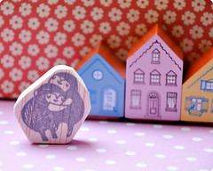 "The ""hug"" of Laura George hand carved rubber stamp"
