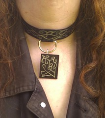 Laminated paper choker, D-ring, and rectangular pendant