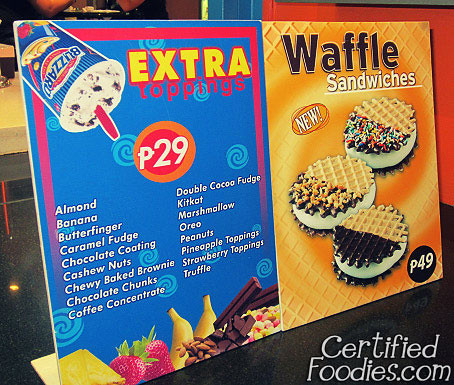 Extra toppings for DQ Blizzard and their other products - waffle sandwiches! - CertifiedFoodies.com