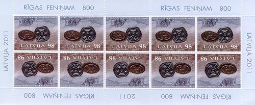 """Pastmarku loksne - """"Rīgas feniņam - 800"""""""