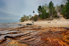 Au Sable Point Lighthouse -  Pictured Rocks National Lakeshore (Michigan Nut) Tags: usa nature geotagged photography spring sandstone path coastline lakesuperior birchtree picturedrocksnationallakeshore michiganlighthouses ausablepointlighthouse grandmaraismichigan hurricanerivercampground michigannutphotography