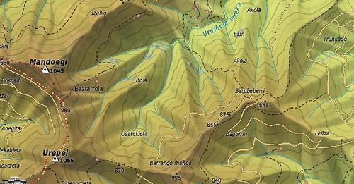 Ejemplo del mapa raster BIDASOA, de editorial SUA, cordal Urepel Mandoegi (Gipuzkoa)