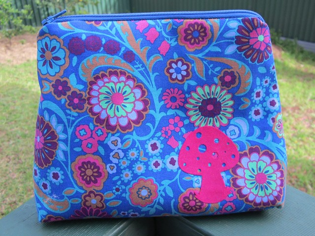 make up bag - blue floral mushroom