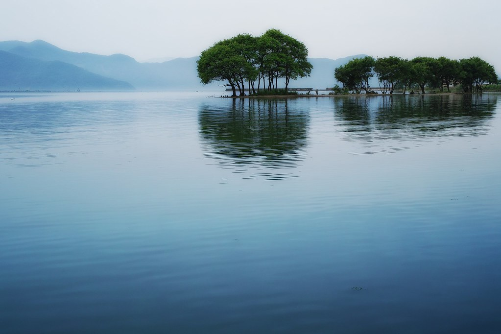 Scenery of Lake Biwa of early summer
