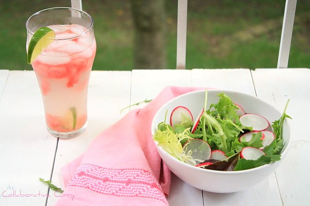 Fresh Salad and sparkling drink