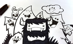 the happy forest (dzingeek) Tags: smile illustration pen ink happy sketch drawing character cartoon creative illustrations doodle characters sharpie sketches cartoons dzingeek