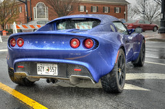 Blue Lotus Elise (StGrundy) Tags: show street atlanta usa english cars hardtop wet car rain weather reflections georgia nikon automobile shiny unitedstates lotus elise cloudy overcast convertible stormy automotive rainy raindrops british waterdrops hdr automobiles carshow sportscar roadster 2014 alpharetta lotuscars fultoncounty photomatix d7000 stgrundy historicdowntownalpharetta thegreatbritishcarfayre
