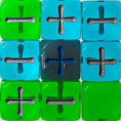 Square o' dice found (lenswrangler) Tags: lenswrangler digikam rawtherapee dice square flickrfriday strobist fudge fudgedice plus minus neutral positive negative blue green grey nine macro geometric plastic
