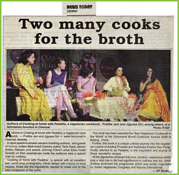 Cookbook author Tarla Dalal bharatnatyam dancer Anitha Ratnam and Elise Collet Sorarito featured in News Today