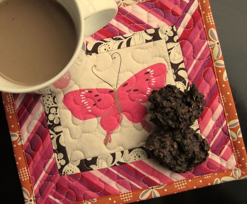 Moth Mug Rug - with coffee and cookies