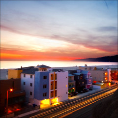 California Dreamin' (Laura Galley) Tags: ocean california city longexposure sunset sea color beach architecture night buildings mediumformat landscape evening coast cityscape searchthebest santamonica pch squareformat pacificcoasthighway flickrsbest candycolors bestofflickrsbest lauragalley