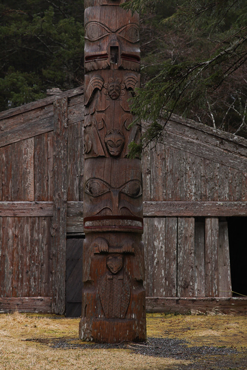 rain-soaked totem pole, Chief Son-i-Hat Whale House, Kasaan, Alaska