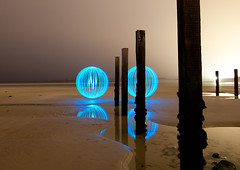 Ole Blue Eyes (Pikebubbles) Tags: longexposure blue lightpainting reflection beach night canon reflections turquoise magic spin dream orb orbs guernsey channelislands groynes