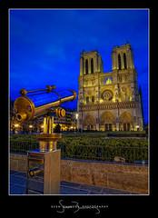 Take a Shot! (Il.Falco) Tags: bridge paris france reflection church seine photoshop canon river lights evening ledefrance cathedral powershot notredame blu