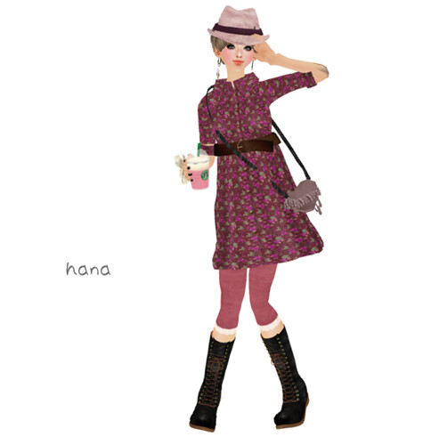 ::C'est la vie !:: florals shirts dress(Daphne Pink)