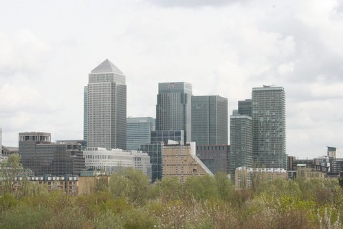 Canary Wharf from the top of Stave Hill