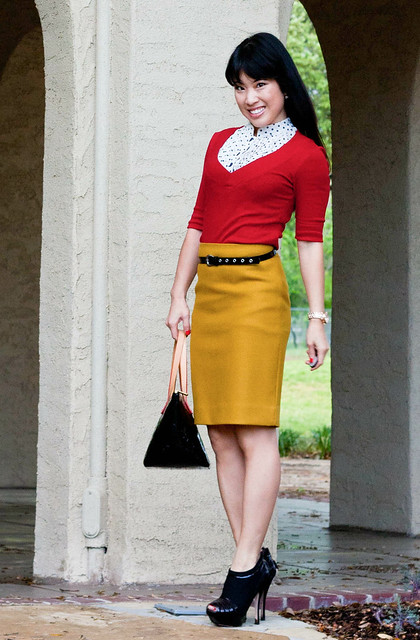 express red v-neck forever 21 polka dot shell j. crew double serge skirt bronzed ochre louis vuitton bellevue mk5430