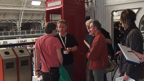 Mark Millar pushed into phone box by fans at Kapow Comic Con 2011 London