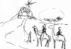 wise men arrive at Bethlehem (Osmis Kills) Tags: christmas watercolor jesus camel kings watercolour bethlehem camels magi wisemen myrrh frankincense