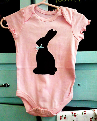 Stenciled Chocolate Bunny Onesie