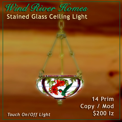 Stained Glass Hanging Light - Hummingbirds by Teal Freenote