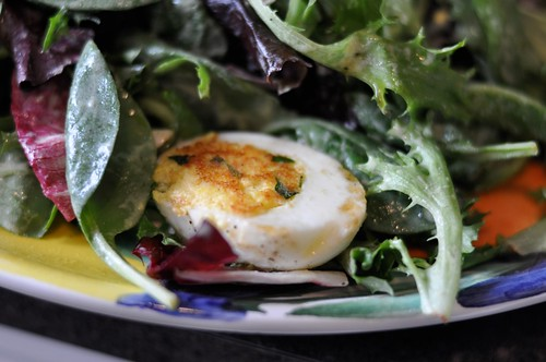 Pan-crisped deviled eggs + salad
