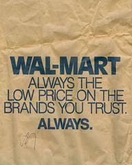 Wal-Mart bag, circa 1990 (Joe Architect) Tags: 1990 retail bag paper walmart logo old vintage catchycolors blue favorites yourfavorites illustration joesgreatesthits myfavorites