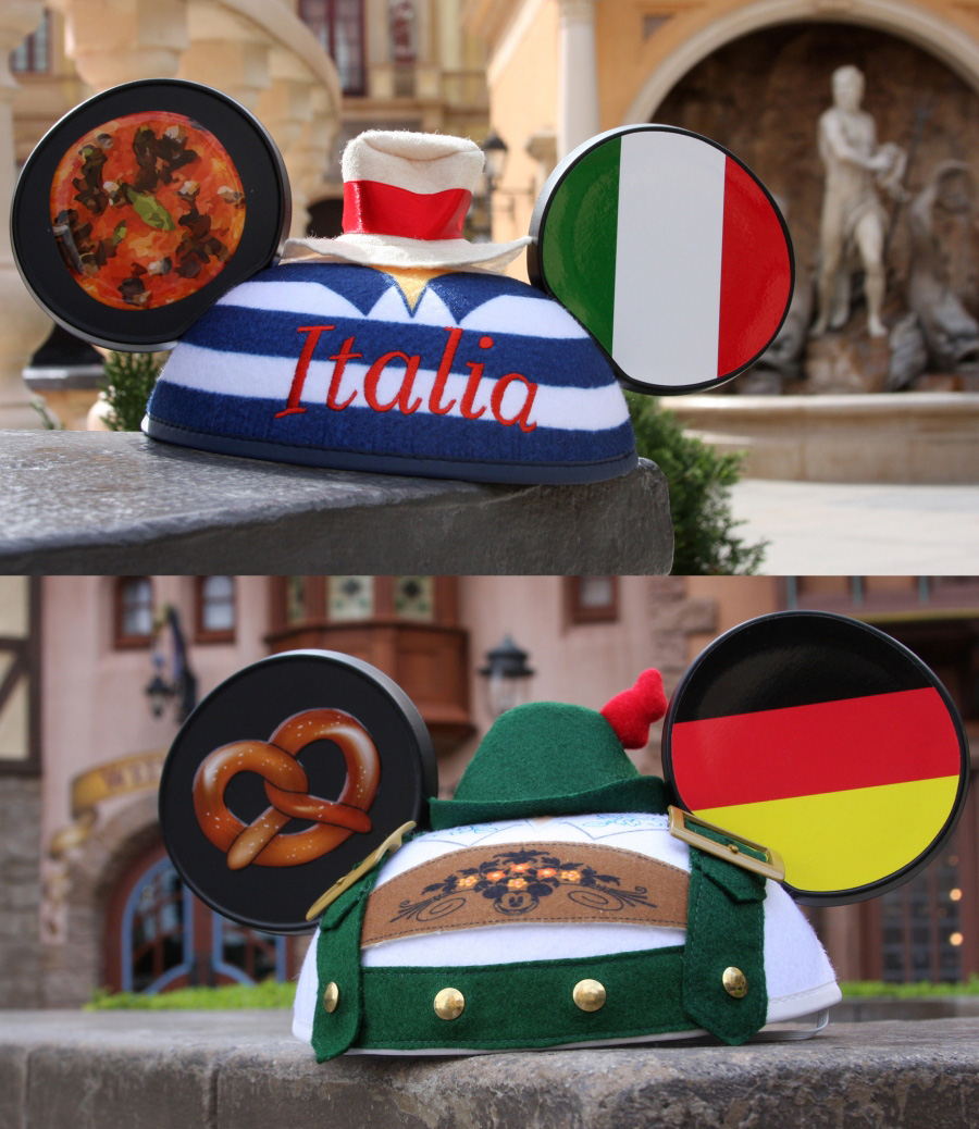 Italy and Germany Ear Hats from Disney Parks