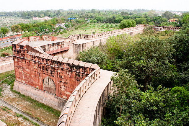 Battlements at Red Fort, and the overgrown courtyard